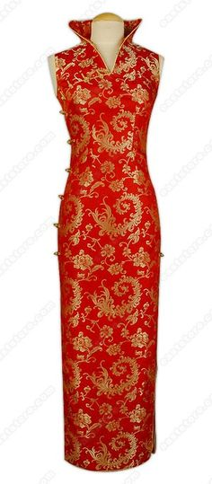 Chinese stand style collar.  V-neck.  Chinese treated frog button.  Buttons closure.  Sleeveless.  2 side slits.  Fully lined.  Phoenix tail patterns.  Ankle length.    Fabric: Brocade.  Washing Instruction: Dry clean only.  Color available: Red.