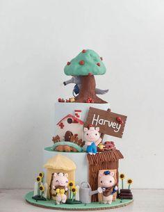50 Three Little Pigs Cake Design (Cake Idea) - October 2019 Pig Birthday Cakes, Cake Designs Images, Fondant Baby, Cake Fondant, Animal Cakes, Pig Party, Three Little Pigs, Sugar Art, Cute Cakes