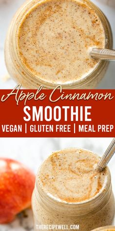 This Apple Cinnamon Smoothie is the perfect way to start a busy fall morning. With ingredients like almond butter, hemp hearts, chia seeds and rolled oats, this smoothie is filled with protein and healthy fats. You& be satisfied until lunch! Vegan Smoothie Recipes, Oat Smoothie, Raspberry Smoothie, Detox Recipes, Smoothie With Apple, Healthy Dessert Smoothies, Healthy Fall Recipes, Vegetarian Smoothies, Almond Butter Smoothie