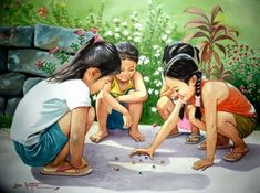 Love this painting. Reminds me of my childhood. Human Figure Sketches, Figure Sketching, Art Village, Filipino Art, Composition Painting, Philippine Art, Indian Art Paintings, Illustrations, Cute Art