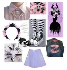 """Pastel Gothic"" by thepunkinnovator ❤ liked on Polyvore featuring Converse, Glamorous, Cynthia Rowley, NYX, women's clothing, women's fashion, women, female, woman and misses"