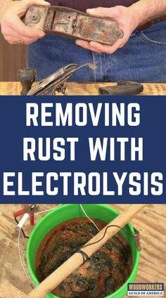 """George Vondriska shows you a unique technique for rust removal on your woodworking tools. Make sure to check out the corresponding article """"Removing Rust with Electrolysis""""! A WoodWorkers Guild of America (WWGOA) original video. Woodworking Chisels, Woodworking Equipment, Woodworking Projects Diy, Woodworking Furniture, Woodworking Tools, Welding Projects, Woodworking Magazine, Furniture Decor, How To Remove Rust"""
