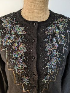 1950's/60's bead sequin wool cardigan | Etsy 1950s Outfits, Wool Cardigan, Floral Motif, Wool Blend, Sequins, Beads, Unique, Sleeves, Clothing