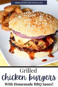 These Grilled BBQ chicken burgers have an easy homemade BBQ sauce that totally knocks it out of the park! You can whip up this sauce on the stove top in less than 10 minutes! It will keep for a week or so in the fridge. And mixed into your burger meat, it's not only insanely delicious, but it prevents these chicken burgers from drying out on the grill. Win-Win! Bbq Burger, Sandwiches, Food Truck, Grilled Bbq Chicken, Chipotle Chicken, Chicken Dips, Barbecue Chicken, Chicken Sandwich, Grilled Ham