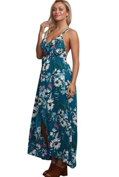 Slate Blue Spaghetti Straps Cross Back Chiffon Floral Maxi Dress MB61476-4 – ModeShe.com
