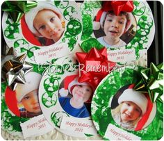 Holiday Photo Wreaths simple paper craft for preschoolers. Keep sake holiday photo wreath painted with spools. Christmas Arts And Crafts, Preschool Christmas, Christmas Activities, Christmas Projects, Preschool Crafts, Christmas Themes, Holiday Crafts, Holiday Fun, Christmas Holidays
