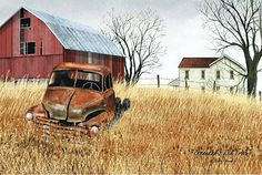 Grandad's Old Truck by Billy Jacobs Barn Farm House Rusty Vehicle Primitive Folk Art Print Country Framed Picture: *PLEASE NOTE: Actual colors may vary from those shown on your monitor. *Professionally made and assembled in the USA! Canvas Home, Canvas Wall Art, Canvas Prints, Art Prints, Framed Prints, Country Barns, Old Barns, Country Living, Country Life