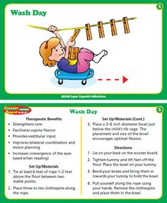 Scooter Board Activities Fun Deck Cards - Super Duper Educational Learning Toy for Kids: Toys & Games Vestibular Activities, Occupational Therapy Activities, Sensory Therapy, Pediatric Occupational Therapy, Gross Motor Activities, Gross Motor Skills, Physical Activities, Physical Education, Activities For Kids