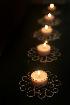 DIY Diwali Craft tea lights with stencil kolam. Note to self: pick up some mini kolam stencils while in India Diya Rangoli, Rangoli Ideas, Rangoli Designs, Flower Rangoli, Easy Rangoli, Diwali Party, Diwali Celebration, Diwali Diy, Diwali Craft