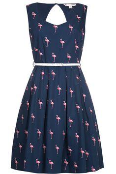 Βαμβακερο μπλε φορεμα με καλοκαιρινο print ροζ φλαμινγκο, λεπτη ζωνη στη μεση και ανοιγμα στη πλατη  | Yumi London | Phillyshop.gr