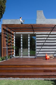 pergola designs for patios Deck Contemporary with Encino folding doors glass