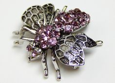 Vintage Purple Amethyst Colored Silver Bee Pin by GreenBeeKC, $16.99