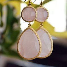 Rose Quartz Jewelry Drop Earrings.