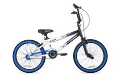 """20"""" Kent Ambush Boys' BMX Bike, Blue:  Optimized for amazing tricks, this BMX bike boasts a four-bolt alloy stem, alloy rims and front pegs; it's also lightweight and sturdy with a durable steel frame. The Kent International Ambush BMX bike features a modern design, so boys will love using it to shred the neighborhood streets. The BMX comes with 20-inch wheels."""