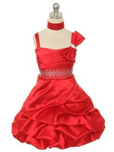 f843e6c36b7 Red Pleated Bodice Satin Short Flower Girl Dress (Sizes 4-14 in 5 Colors