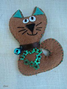 Felt  broche gatito  de El rinconcito de Zivi por DaWanda.com