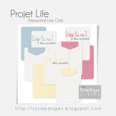 Free Capture This Moment + Chevron Journal Cards for Project Life from Scrap'Anges