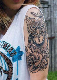 Owl Half Sleeve Tattoo Ideas for Women