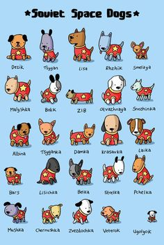 Soviet Space Dogs by Jess Bradley, an adorable illustration that pays tribute to the canine cosmonauts.