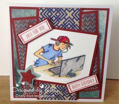 LOTV - Oliver Laptop with Teenage Boys Sentiments by Kelly Lloyd Teenage Boy Birthday, Birthday Cards For Boys, Handmade Birthday Cards, Happy Birthday Cards, Handmade Cards, Wrestling Birthday, Exploding Box Card, Boy Cards, Masculine Cards