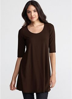 Scoop Neck Long Tunic with Elbow Sleeves in Viscose Jersey