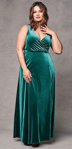 Plus Size Velvet High Slit Maxi Dress