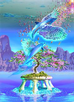 Waterlights, Surreal-art,Fantasy-Art,higher consciousness-art,Dolphins,Whales,fairies,souls,dragons. Jean-Luc Bozzoli art