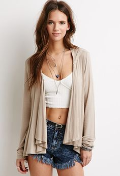 Hooded Open-Front Cardigan | Forever 21 - 2000096669