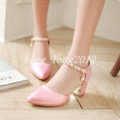 Us 4-11 Womens Chunky Heels Pointed Toe Ankle Strap Faux Leather Prom Date Shoes