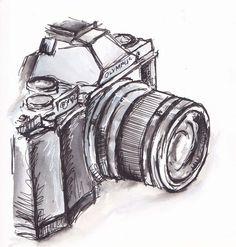 black and white camera. - black and white camera… traceyfletcherkin… - Pencil Art Drawings, Art Drawings Sketches, Easy Drawings, Tattoo Sketches, Camera Drawing, Camera Art, Camera Sketches, Camera Painting, Digital Camera