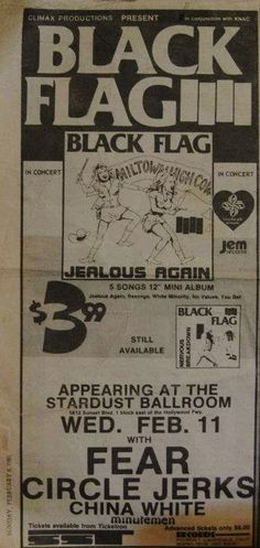 """Black Flag - ad for show and """"jealous again"""" release. 1981."""