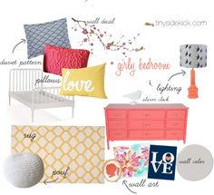 Coral, Navy, and Mustard {Design Collaboration}...perfect for a girly bedroom #coral #navy #moodboard