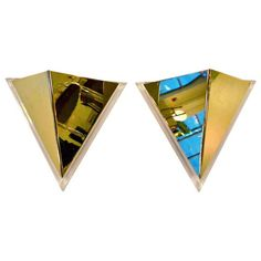 1stdibs.com | Pair of Lucite & Brass Pyramidal Wall Sconces (we have multiples available)