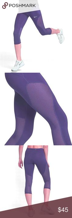 Nike Racer Power Yoga Running Crop Pants Purple M Style# 855144-540 The Nike Racer Women's Running Crops provide a range of stretch and support, while mesh panels wrap around your legs for optimal cooling. Dri-FIT Technology wicks sweat away from your body to help keep you dry Mesh panels along the side,  behind the knees for added breathability Wide waistband with interior drawcord for a personal fit Stretch fabric with flat seams move smoothly Back zip pocket to keep your keys and personal
