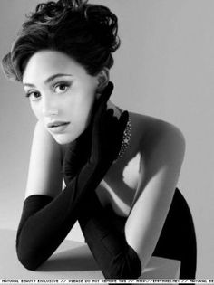 Emmy Rossum with Audrey Hepburn inspired makeup