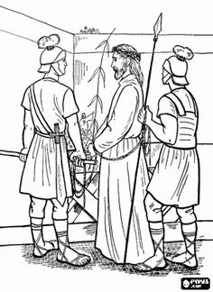 Easter Bible Coloring - Jesus is taken to Pilate, Sunday School and VBS activity sheets Jesus Coloring Pages, Easter Coloring Pages, Coloring Sheets For Kids, Free Coloring, Bible Lessons For Kids, Bible For Kids, Easter Story Bible, Sunday School Coloring Pages, Bible Activities