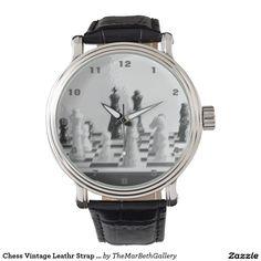 Chess Vintage Leathr Strap Watch