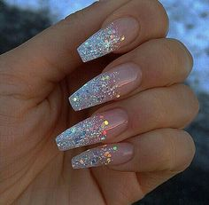 Coffin nails with a glitter french manicure. Beautiful nail design and acrylic nails. Acrylic Nails Coffin Glitter, Best Acrylic Nails, Cute Acrylic Nails, Cute Nails, Coffin Nails, Nails Polish, Gel Nails, Stylish Nails, Trendy Nails