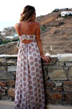 Vestido largo con flores