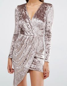 Image 3 of Club L Crushed Velvet Wrap Over Long Sleeve Dress
