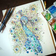 Ilustración de Pavo Real. Hecha con Puntos por Ana Enshina