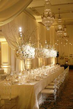 all white classic wedding reception centerpiece; photo: Dominique Fierro