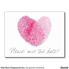 Pink Heart Fingerprint Save the Date Postcard #SAVETHEDATE #WEDDING #MARRIAGECARDS #LOVE #ENGAGED #ENGAGEMENT #FINGERPRINT #HEART #PINK