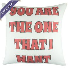 Throw pillow with vibrant typography.  Product: PillowConstruction Material: Cotton linen blendColor: