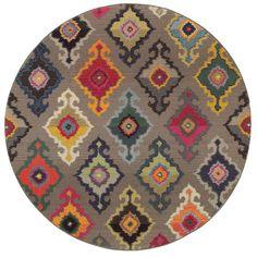Vibrant Bohemian Grey/ Multicolored Area Rug (7'8 Round)