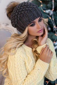 bdebdaac452 Gray Fur Pom pom slouchy beanie fleece lined White slouchy fur pom pom  beanie provides a