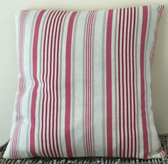 Classic striped handmade cushion in various sizes - pink / cream / taupe
