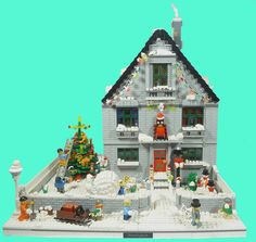 This year's Christmas MOC of the Week comes from Nick Sweetman (MinifigNick on Lego Christmas Village, Lego Winter Village, Lego Village, Christmas Villages, Building Blocks Toys, Lego Building, Lego Books, Miniture Dollhouse, All Lego