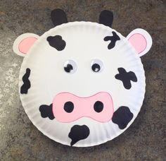 Cow craft, paper plate, toddler craft