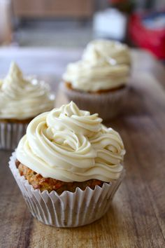 Healthy carrot cake muffins with honey icing